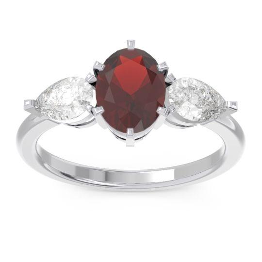 Garnet Three Stone Oval Uditi Ring with Diamond in 14k White Gold