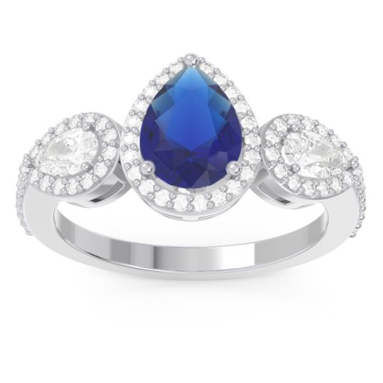 Blue Sapphire Halo Three Stone Pear Shape Varsana Ring with Diamond in 14k White Gold
