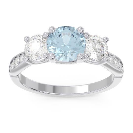 Three Stone Pave Zasti Aquamarine Ring with Diamond in 14k White Gold