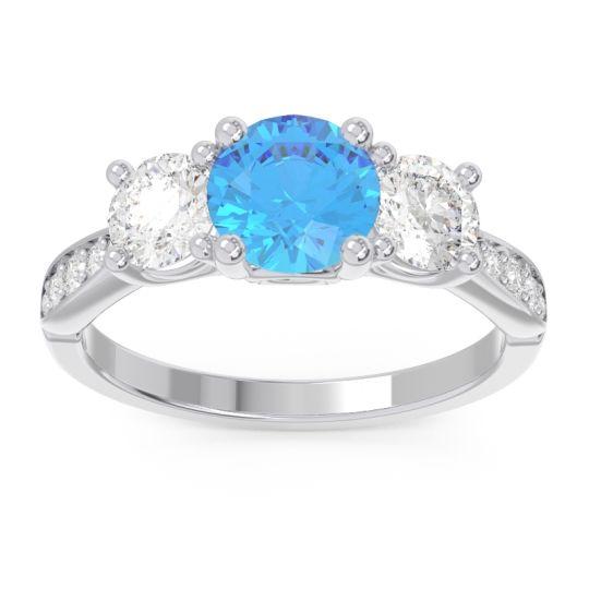 Swiss Blue Topaz Three Stone Pave Zasti Ring with Diamond in 14k White Gold