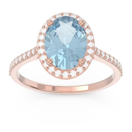 Halo Pave Oval Parampara Aquamarine Ring with Diamond in 18K Rose Gold
