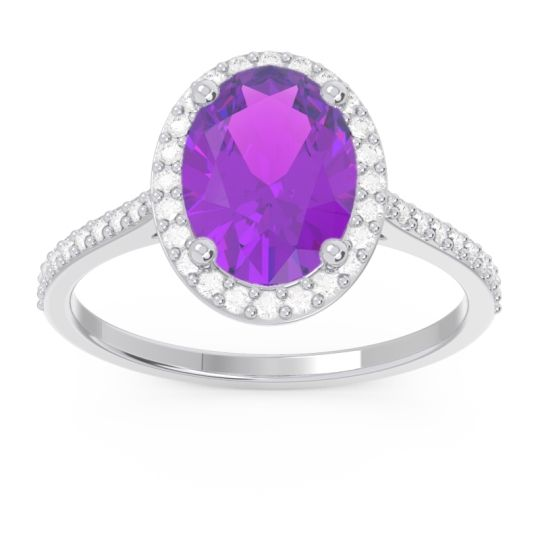 Amethyst Halo Pave Oval Parampara Ring with Diamond in 14k White Gold
