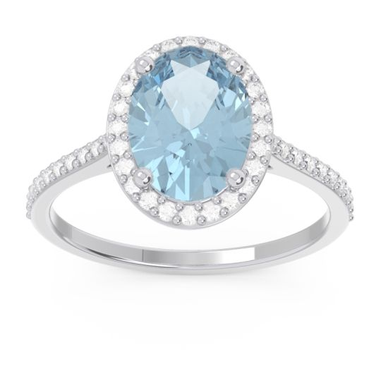 Aquamarine Halo Pave Oval Parampara Ring with Diamond in 14k White Gold