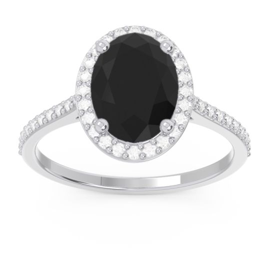 Halo Pave Oval Parampara Black Onyx Ring with Diamond in 14k White Gold