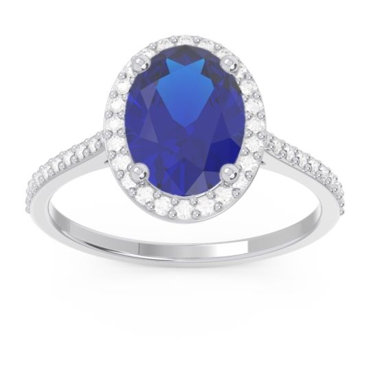Halo Pave Oval Parampara Blue Sapphire Ring with Diamond in 14k White Gold