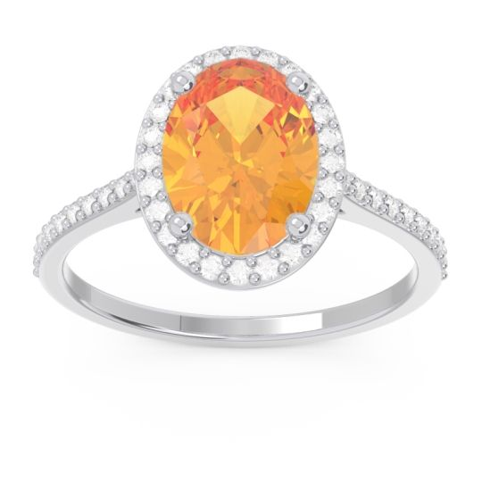 Halo Pave Oval Parampara Citrine Ring with Diamond in 14k White Gold