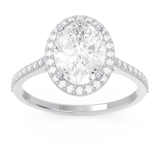 Halo Pave Oval Parampara Diamond Ring in 14k White Gold