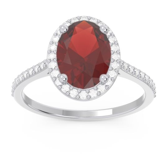 Halo Pave Oval Parampara Garnet Ring with Diamond in 14k White Gold