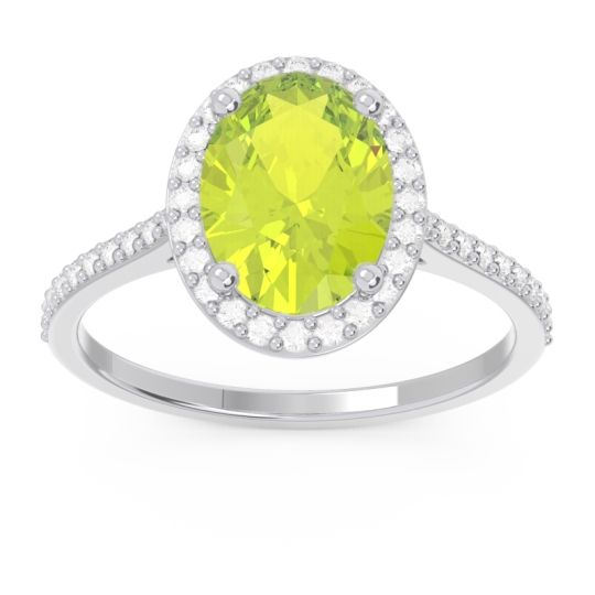 Peridot Halo Pave Oval Parampara Ring with Diamond in 14k White Gold