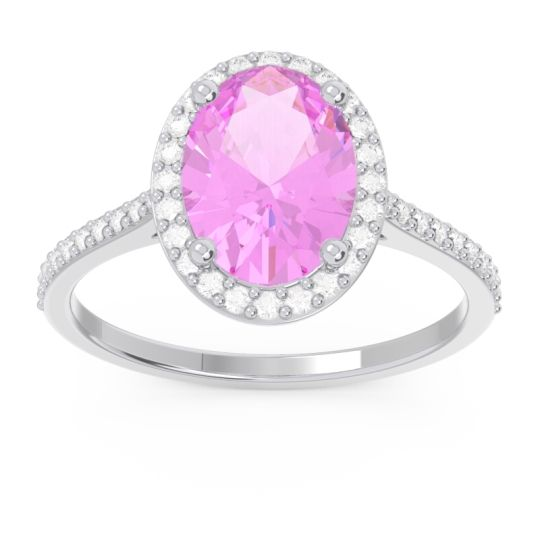 Halo Pave Oval Parampara Pink Tourmaline Ring with Diamond in 14k White Gold