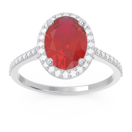 Halo Pave Oval Parampara Ruby Ring with Diamond in 14k White Gold