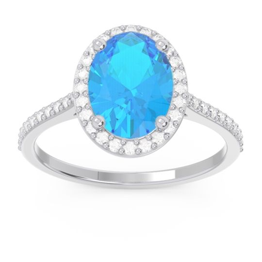 Swiss Blue Topaz Halo Pave Oval Parampara Ring with Diamond in 14k White Gold