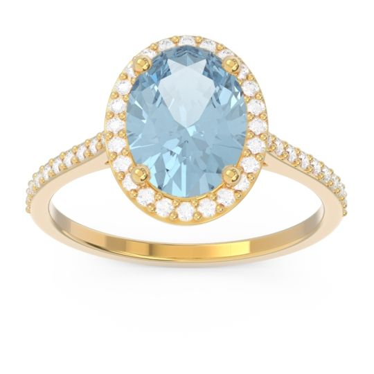 Aquamarine Halo Pave Oval Parampara Ring with Diamond in 18k Yellow Gold