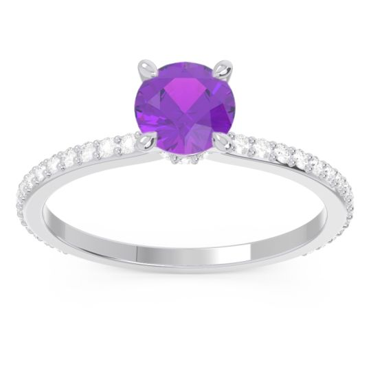 Amethyst Pave Mauli Ring with Diamond in 14k White Gold