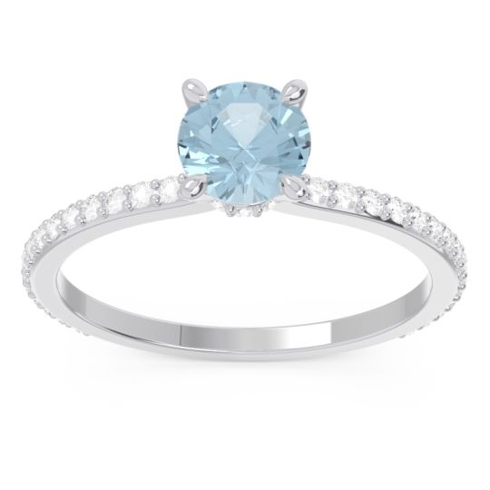 Aquamarine Pave Mauli Ring with Diamond in 14k White Gold