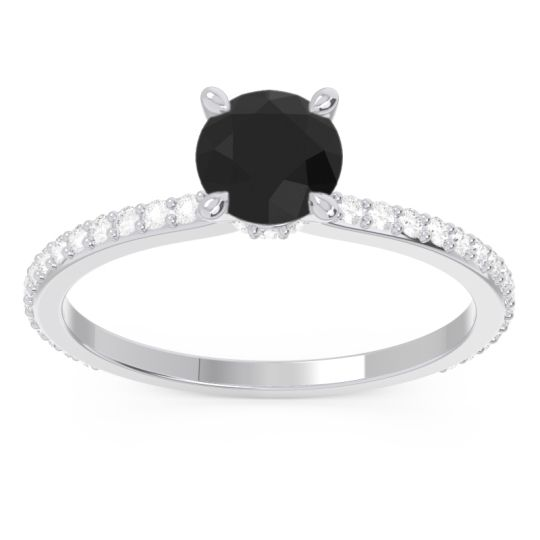 Black Onyx Pave Mauli Ring with Diamond in 14k White Gold