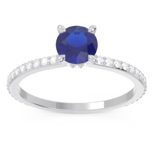 Blue Sapphire Pave Mauli Ring with Diamond in 14k White Gold