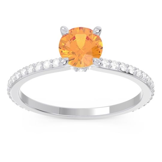 Citrine Pave Mauli Ring with Diamond in 14k White Gold