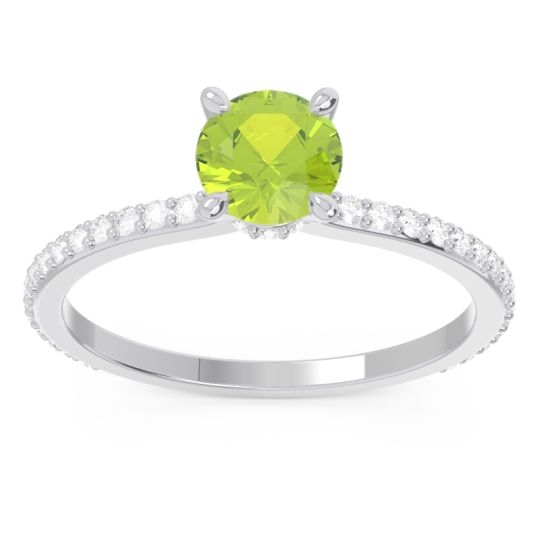 Peridot Pave Mauli Ring with Diamond in 14k White Gold