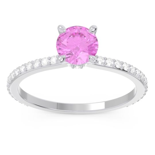 Pink Tourmaline Pave Mauli Ring with Diamond in 14k White Gold