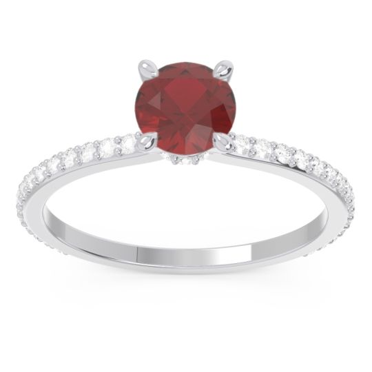 Ruby Pave Mauli Ring with Diamond in 14k White Gold
