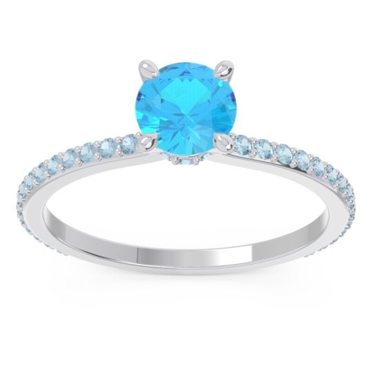 Swiss Blue Topaz Pave Mauli Ring with Aquamarine in 14k White Gold