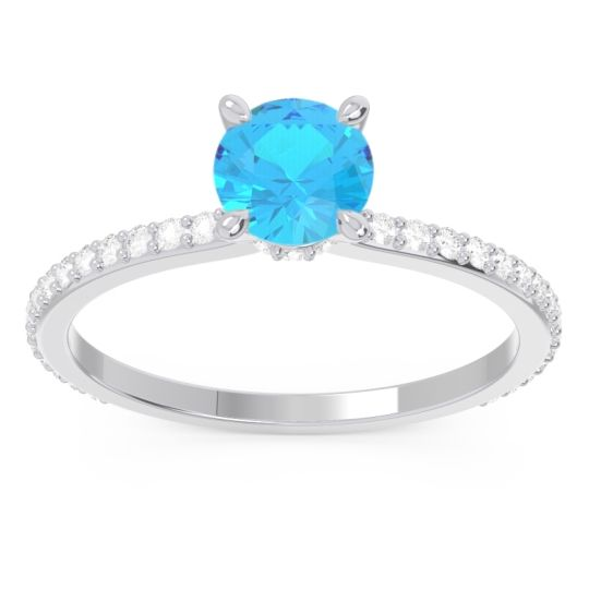 Swiss Blue Topaz Pave Mauli Ring with Diamond in 14k White Gold