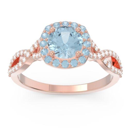 Aquamarine Halo Pave Arenu Ring with Diamond in 14K Rose Gold