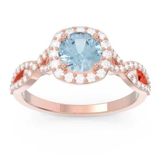 Halo Pave Arenu Aquamarine Ring with Diamond in 14K Rose Gold