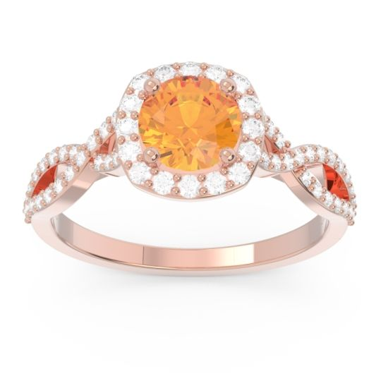 Halo Pave Arenu Citrine Ring with Diamond in 14K Rose Gold