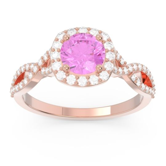 Pink Tourmaline Halo Pave Arenu Ring with Diamond in 14K Rose Gold