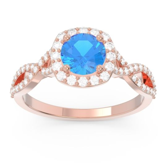 Swiss Blue Topaz Halo Pave Arenu Ring with Diamond in 14K Rose Gold