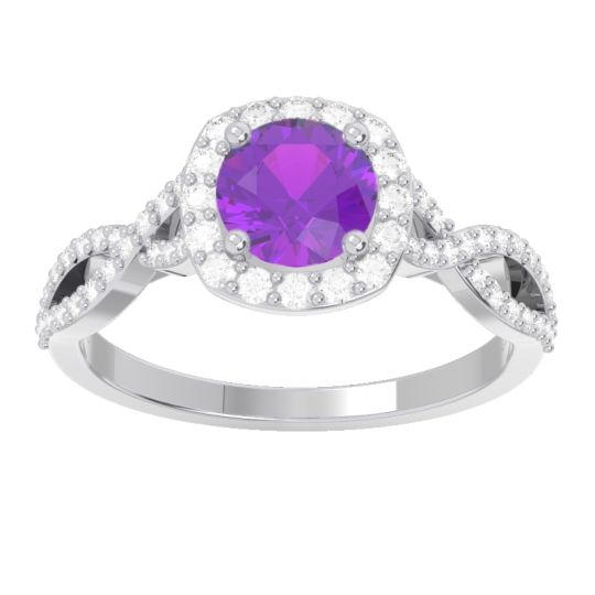Halo Pave Arenu Amethyst Ring with Diamond in 14k White Gold