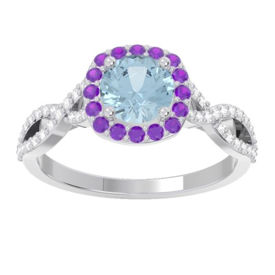 Aquamarine Halo Pave Arenu Ring with Amethyst and Diamond in 18k White Gold