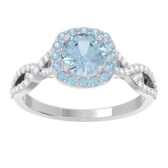 Aquamarine Halo Pave Arenu Ring with Diamond in 18k White Gold