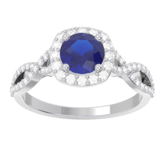 Halo Pave Arenu Blue Sapphire Ring with Diamond in 14k White Gold