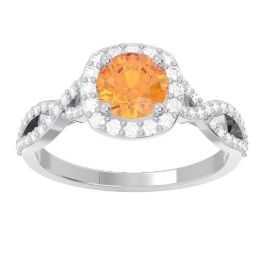 Citrine Halo Pave Arenu Ring with Diamond in 14k White Gold