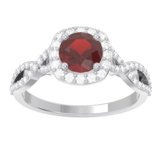 Garnet Halo Pave Arenu Ring with Diamond in 14k White Gold