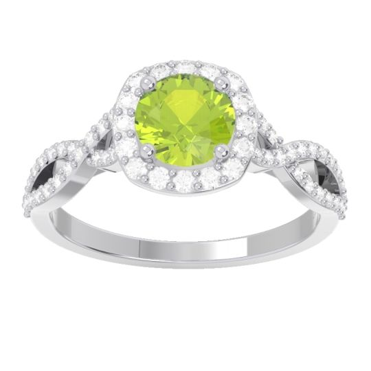 Halo Pave Arenu Peridot Ring with Diamond in 14k White Gold