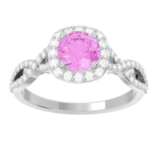 Pink Tourmaline Halo Pave Arenu Ring with Diamond in 14k White Gold