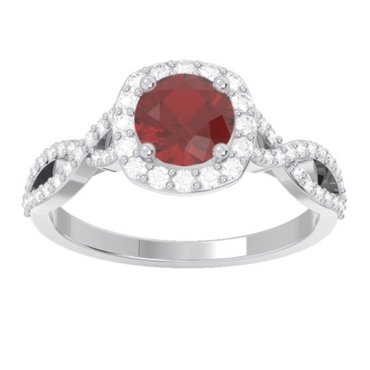Ruby Halo Pave Arenu Ring with Diamond in 14k White Gold