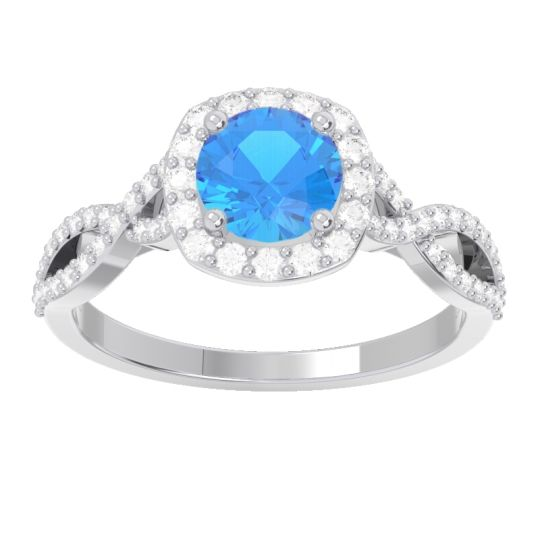 Swiss Blue Topaz Halo Pave Arenu Ring with Diamond in 18k White Gold