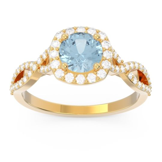 Aquamarine Halo Pave Arenu Ring with Diamond in 14k Yellow Gold