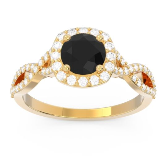 Black Onyx Halo Pave Arenu Ring with Diamond in 18k Yellow Gold
