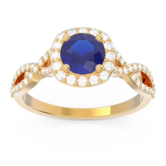 Blue Sapphire Halo Pave Arenu Ring with Diamond in 18k Yellow Gold