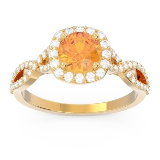 Halo Pave Arenu Citrine Ring with Diamond in 14k Yellow Gold