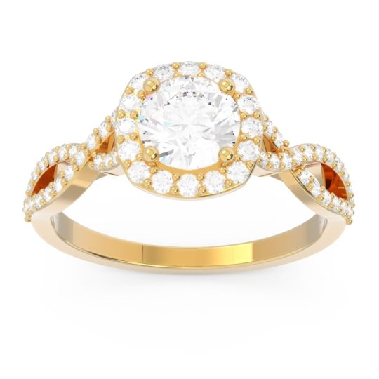Diamond Halo Pave Arenu Ring in 18k Yellow Gold