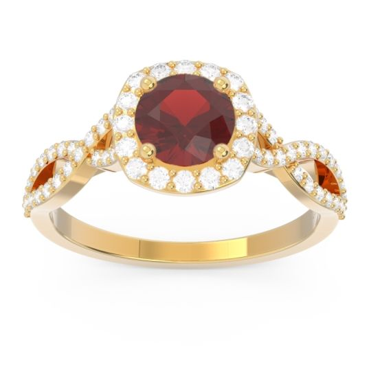 Garnet Halo Pave Arenu Ring with Diamond in 14k Yellow Gold
