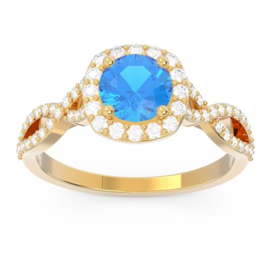 Swiss Blue Topaz Halo Pave Arenu Ring with Diamond in 18k Yellow Gold