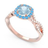 Aquamarine Halo Pave Arenu Ring with Swiss Blue Topaz and Diamond in 14K Rose Gold